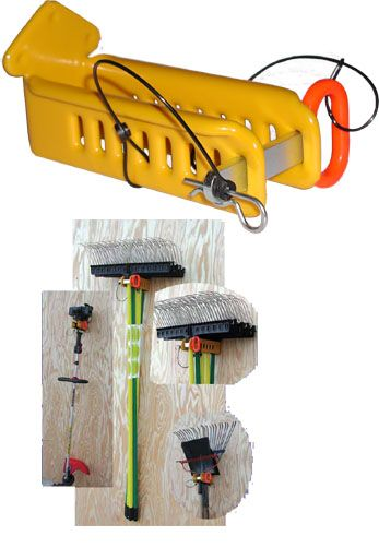 This Enclosed Trailer Hand Tool Rack secures up to 5 hand tools vertically