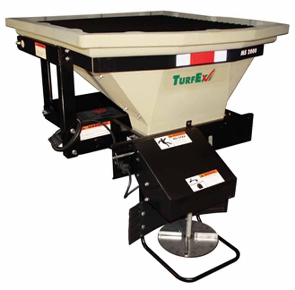 The MS2000 features a quick connect spinner assembly to easily spread free flowing sand, seed, and granular materials.