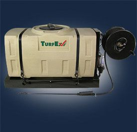 TurfEx's more compact skid-mounted spot sprayer. It is completely electric driven and draws its power from the vehicle's battery.