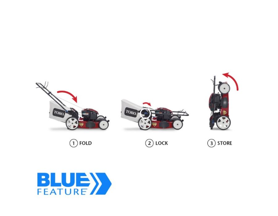 Smart Stow - Save up to 70%* floor space by storing the mower upright, with no fuel or oil leaks.